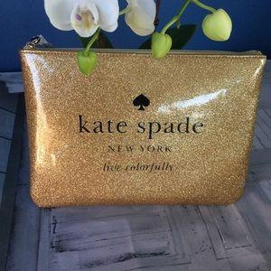 Kate Spade Gold Glitter Clutch NWT